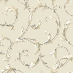 "York Wallcoverings Black and White Acanthus 27' x 27"" Scroll Roll Wallpaper & Reviews 
