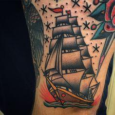 American traditional tattoos — javierdeluna:   Lil boat @classicfullerton  (at...