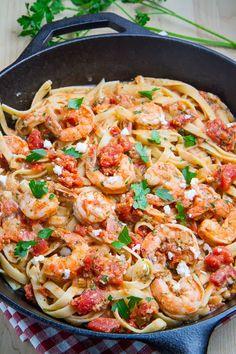 Shrimp Linguine in a Tomato and Feta Sauce
