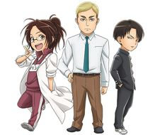 Hange, Erwin, and Levi (Attack on Titan: Junior High)