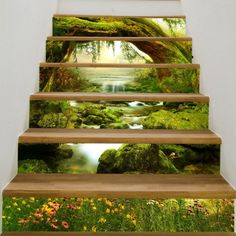 Tree Hole Stream Scenery Printed Stair Stickers - Green 6pcs:39*7 Inch( No Frame ) Mobile