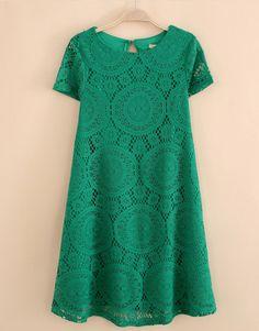 2016 Summer Women Plus Size S - Casual Lace up Loose Dress Crochet Elegant Hollow Female Pull Femme Robe Vestidos Black And Green Dress, Green Dress Casual, White Mini Dress, Casual Dresses, Green Lace, Black White, Color Black, Casual Attire, Elegant Dresses