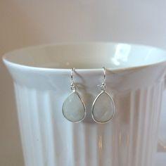 Moonstone Gemstone Earrings, Tear Drop Earrings, Bezel Setting, Sterling Silver, Bridesmaid Jewelry, Wedding Jewelry by: ilovejewelryla