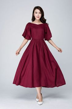 This burgundy dress is made of linen blend. This burgundy linen dress open by side zipper. The linen dress has two big sleeve. This Romantic dress has no pockets. if you want to wash by your hand, you need wash alone, please dont wash with others. Trendy Dresses, Casual Dresses, Fashion Dresses, Formal Dresses, The Dress, Dress Skirt, Burgundy Dress, Burgundy Fashion, Burgundy Color