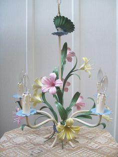 sweet Italian floral tole chalndelier