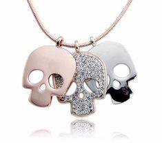 Triple Skull Pendant Necklace