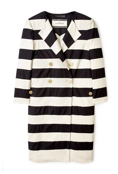 Salerna Black and Cream Wide Stripe Coat by By Malene Birger