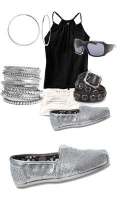 Silver Women's Glitters Toms