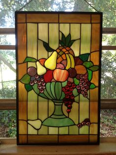 FRUIT BOWL Stunning Bright Colorful Stained Glass Panel of by RhondaRecreates, $400.00