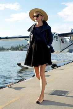 7.16 up, up & away // (BP. woven raffia boater hat + Burberry Brit 'craysmoore' toggle peacoat in ink blue + Caslon striped tee in grey/navy + Maje skirt + Chanel cap-toe flats + Karen Walker sunnies)