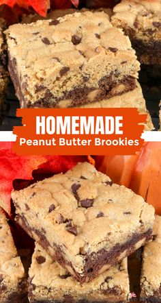 Peanut Butter Brookies - what a great Brookies recipe! Brownies chock full of chocolate chips AND peanut butter chips combine with a delicious chocolate chip peanut butter cookie layer. These Brookies cookie bars are to die for!  Peanut Butter Brownie cookies never tasted so good or were so easy to make! #PeanutButterBrookies #PeanutButterCookies #Brownies #Brookies