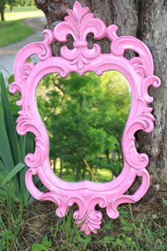 Hot Pink Ornate Mirror // Hollywood Regency Home Decor // Shabby chic