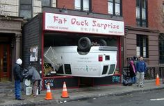 Unusual car accidents and strange situations to be in with a car.