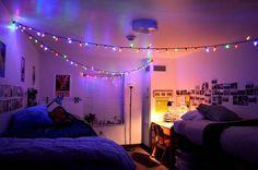 Again, string lights! dorm sweet dorm in 2019 Funky Bedroom, Bedroom Decor, Bedroom Lighting, 1920s Bedroom, Earthy Bedroom, Gold Bedroom, Dream Rooms, Dream Bedroom, Room Decor For Teen Girls