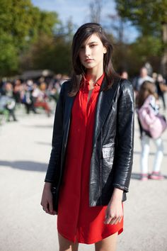 STREET STYLE SPRING 2013: PARIS FASHION WEEK - It's tailored leather and red for Jacquelyn Jablonski.