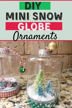 How to make your own snow globes for Christmas #noglycerin #crafts #kids #easy #dollartree Baby Jars, Baby Food Jars, Coastal Christmas Decor, Diy Christmas Gifts, Christmas Activities For Kids, Craft Activities For Kids, Edible Finger Paints, Globe Projects, Globe Ornament