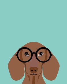 Remy - Daschund with Fashion glasses, hipster glasses, hipster dog, doxie, Art Print by petfriendly Dachshund Art, Daschund, Dog Lover Gifts, Dog Lovers, Hipster Dog, Corgi Gifts, Hipster Glasses, Weenie Dogs, Illustration
