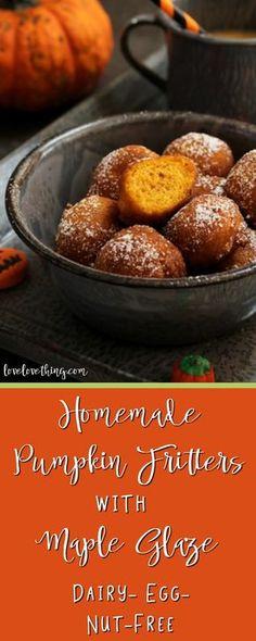 Homemade pumpkin fritters & maple glaze - dairy/egg/nut-free