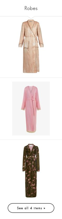 """Robes"" by remedijos ❤ liked on Polyvore featuring intimates, robes, jackets, light pink, summer dressing gown, summer bathrobes, summer robe, wrap robe, silk robe and dressing gown"