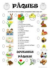 Pâques worksheet - Free ESL printable worksheets made by teachers Easter Worksheets, French Worksheets, Easter Activities, Printable Worksheets, French Teacher, Teaching French, Kindergarten Songs, French Kids, Cloud