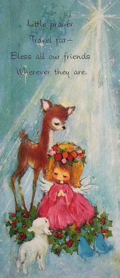 Vintage Christmas Card Vintage Christmas Images, Old Fashioned Christmas, Christmas Deer, Retro Christmas, Vintage Holiday, Christmas Angels, Christmas Time, Vintage Greeting Cards, Christmas Greeting Cards