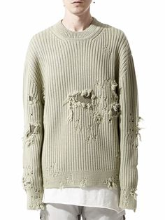 YEEZY - Distressed Knit Sweater - KW3M215-310 MILITARY LIGHT - H. Lorenzo