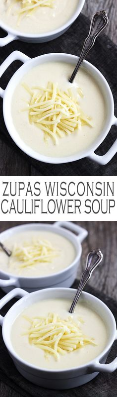 "Cauliflower Soup ""I can't believe that my favorite soup from Zupas is so easy to make at home in less than 30 minutes. This stuff tastes so close to the original Zupas recipe it's crazy! Soup Recipes, Cooking Recipes, Healthy Recipes, Healthy Food, Recipies, Sopas Low Carb, Yummy Food, Tasty, Cauliflower Soup"