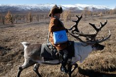 How did you get to work today? (Bet you didn't use a reindeer ;)   ---   We'll do whatever it takes to help children in the hardest-to-reach parts of the world.     In Mongolia, this UNICEF health worker travels by automobile, hand-drawn ferry, by foot AND, in this case, even by reindeer immunize children.     For us, no child is too far. We won't stop until every child is protected.     You can learn more by visiting: http://www.unicef.org/immunization/     © UNICEF/NYHQ2012-1735/BRIAN SOKOL