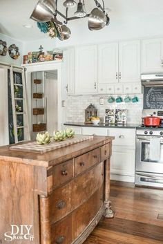 Kitchen Island Decor Unique Ways To Show Your Bohemian Rugs Home Design . Cheerful Summer Interiors: 50 Green And Yellow Kitchen . Unique Kitchen Cabinet Designs You Can Adopt Easily . Home and Family Farmhouse Kitchen Diy, Eclectic Kitchen, Modern Farmhouse Kitchens, Kitchen Redo, Home Kitchens, Kitchen Dining, Kitchen Ideas, Island Kitchen, Kitchen Island From Dresser