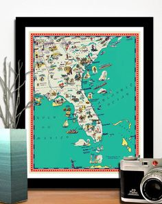 "Vintage Florida, Georgia and South Carolina map -   a retro and funny map - 11x14"". $19.00, via Etsy."