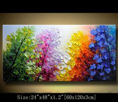 Abstract Wall Painting Palette Knife Abstract Painting Textured Painting Landscape Painting Colorful tree Painting on Canvas by Chen AAA Art Painting, Landscape Paintings, Tree Painting, Painting, Modern Abstract Painting, Colorful Trees, Wall Painting, Texture Painting, Abstract Wall Painting