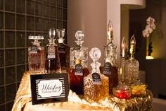 whiskey bar in fancy bottles. sweet
