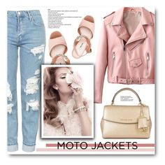 """""""After Dark: Moto Jackets (5)"""" by emhenry ❤ liked on Polyvore featuring Miu Miu, MICHAEL Michael Kors and Topshop"""
