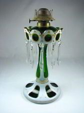 Antique Cased Green Glass Mantle Luster with Unusual Oil Kerosene Lamp Insert