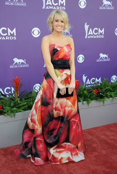 Singer Carrie Underwood arrives at the 48th Annual Academy of Country Music Awards at the MGM Grand Garden Arena in Las Vegas on Sunday, April 7, 2013. (Photo by Al Powers / Invision)