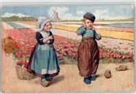 1909 Künstlerkarte Feiertag, K. Kind Tracht Windmühle
