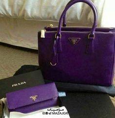 Prada----That's a very bright purple purse & wallet! Oh how I think this may come in handy someday The Purple, Bright Purple, Purple Rain, Purple Stuff, Prada Purses, Prada Handbags, Prada Bag, Fashion Handbags, Purple Purse