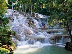 Duns river-falls, Jamaica.  This is my 5 times destination.  Beautiful scenery, people, and great food.  If you want to swim, sail, snorkel, scuba, drink rum, bake in the sun, or go horseback riding on the beach and enjoy a beautiful sunset, head for Jamaica!!!!!