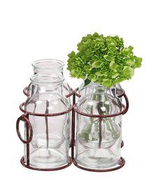 $17.50 {Simple elegance} Rustic Metal Holder w/ Glass Milk Bottles ~WUSLU Daily Deal <3