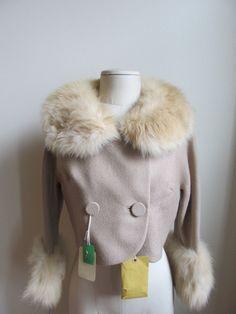 Vintage 1940's WWII era Kipness wool beige blazer jacket fox fur trim TAGS M SALE was 225.00