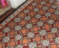 Classic Victorian Tiling Company- Victorian Tiles in hallway Hall Tiles, Tiled Hallway, Front Hallway, Hallway Flooring, Entry Hall, Victorian Tiles, Victorian Bathroom, Victorian Houses, Vintage Interiors
