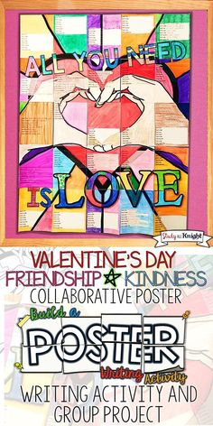 This Valentine's Day writing activity poster is for creative fun and group work. Collaborative student group project. All inspired by love, friendship, and kindness in your classroom. Great for your language arts writing lessons and English writing lessons.