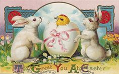 To Greet You at Easter ~ vintage holiday postcard | via The Best Hearts Are Crunchy