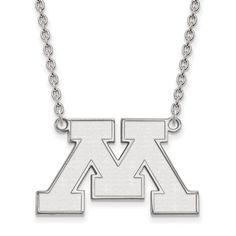 Sterling Silver LogoArt University of Minnesota Large Pendant w/Necklace