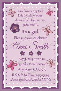 Butterflies and Flowers Birthday or Baby Shower Invitations by CreatinVitations, $15.00
