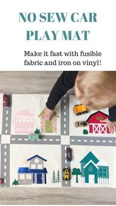 Learn how to make your own car mat in a couple of hours and don't even have to use a sewing machine! Make a DIY Car Play mat that kids will love to use. Sewing For Kids, Baby Sewing, Car Play Mats, Sewing Room Storage, Iron On Vinyl, Diy Car, Sewing Studio, Baby Play, E Design