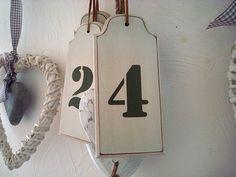 """Suspension en bois beige """"Numéro 4"""", déco rétro"""