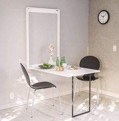 35 Folding Tables That Can Also Be Installed in Walls! keep reading. Folding Study Table, Folding Kitchen Table, Fold Out Table, Folding Walls, Dining Chairs, Dining Table, Wall Desk, Iron Table, Living Room Paint