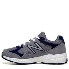 New Balance Kids' KJ888 Medium/Wide/X-Wide Running Shoe Preschool Shoes (Grey/Navy Leather) - 12.0 M