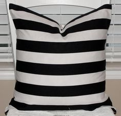 "Premier Prints Black and White Stripe Pillow Cover 18""x18"" Horizontal Stripes. $13.50, via Etsy."